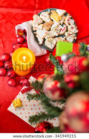 Christmas composition with Christmas balls and Christmas decoration with snow and star - stock photo