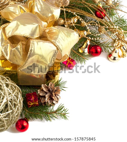 Christmas composition with Christmas decoration isolated on white background - stock photo