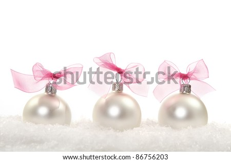 Christmas composition with christmas decoration over white - stock photo