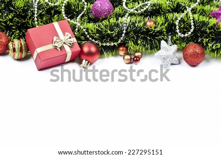 christmas composition with colored balls, golden decorations, green tinsel. festive arrangement with place for your text  - stock photo