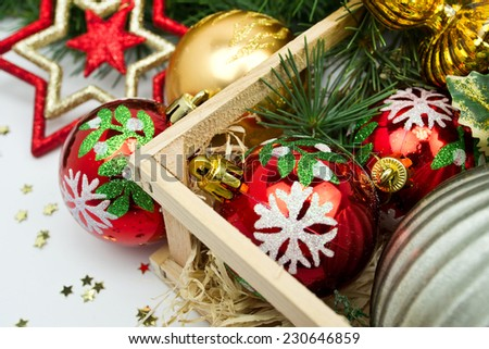 Christmas composition with gift  and decorations
