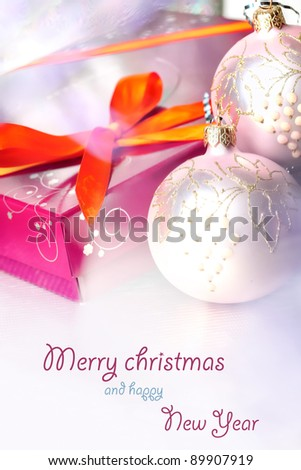 Christmas composition with gift box and decorations - stock photo