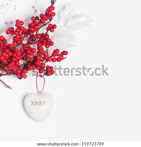 christmas composition with heart - stock photo