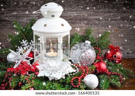 Christmas composition with lantern - stock photo