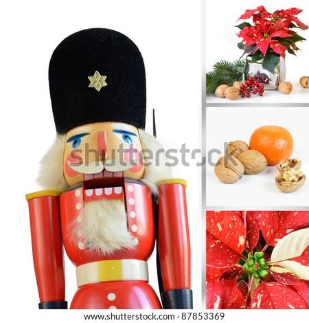 Christmas composition with nutcracker - stock photo