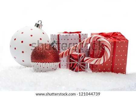 Christmas Composition with snow isolated on white background