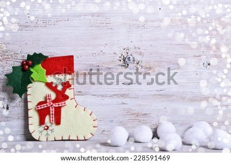 Christmas composition with toe, snow and Christmas decorations