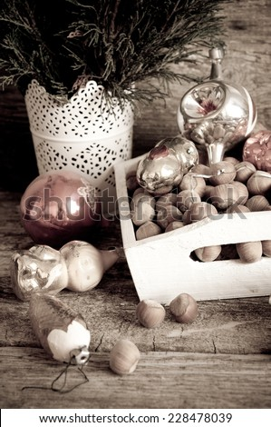 Christmas composition with vintage christmas decoration in retro style