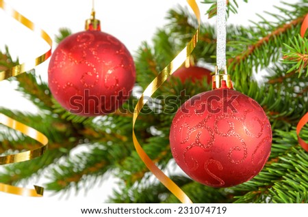 christmas concept: balls on the christmas tree - stock photo