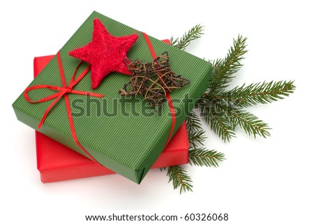 Christmas concept. Ornate gifts isolated on white background. - stock photo