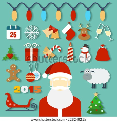 Christmas concept with flat icons and Santa. Raster version - stock photo