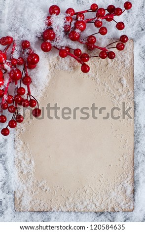 Christmas congratulation card with snow - stock photo
