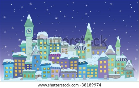 christmas construction town little city  vector series - stock photo