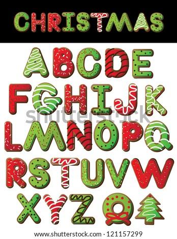 Christmas Cookie Alphabet A through Z - stock photo