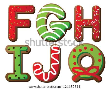 Christmas Cookie Alphabet F through J - stock photo