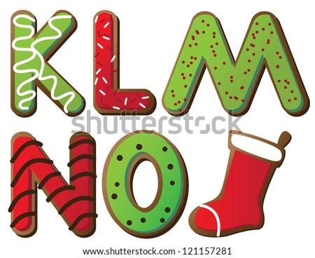 Christmas Cookie Alphabet K through O - stock photo