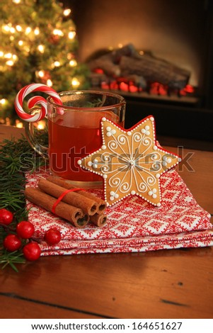 Christmas cookie and hot apple cider by the fireplace. Also available in horizontal.