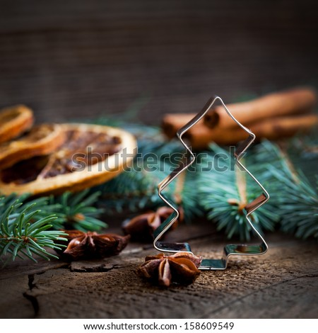 christmas cookie cutter fir  - stock photo