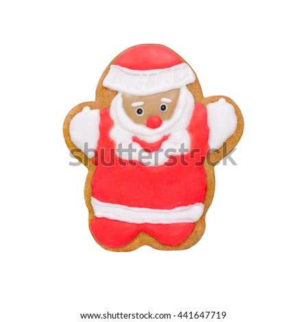 christmas cookie gingerbread happy Santa red and white isolated - stock photo