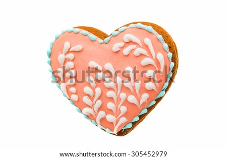 Christmas cookie gingerbreads on a white background - stock photo