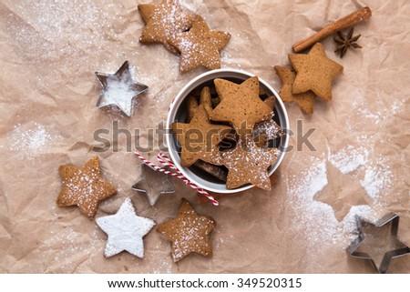 Christmas cookie stars - stock photo