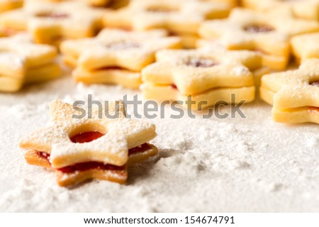Christmas cookie stars fresh baked gingerbread powdered sugar - stock photo