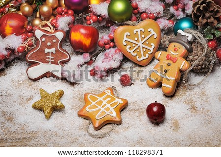 Christmas cookie with decoration - stock photo