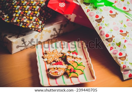 Christmas Cookies and gifts. - stock photo