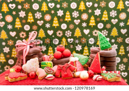 Christmas cookies and gingerbread with decoration - stock photo