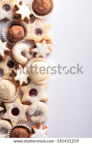 Christmas cookies border and copy space. - stock photo