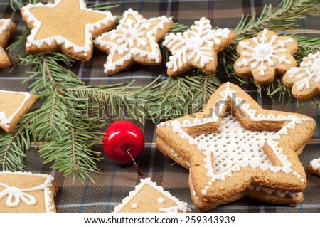 Christmas cookies. Cloth in the box. texture - stock photo