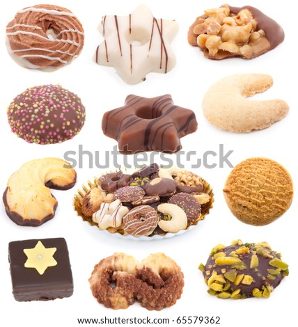 Christmas cookies collection isolated on white background - stock photo
