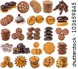 Christmas cookies Collection Set  isolated on white background - stock photo