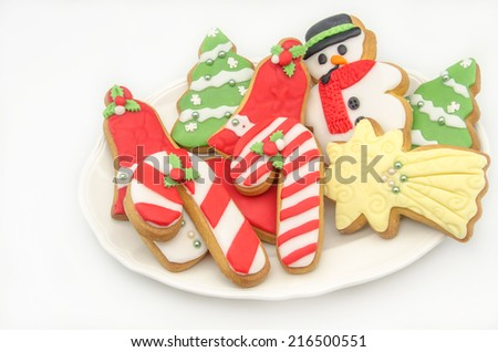 Christmas cookies decorated with fondant - stock photo