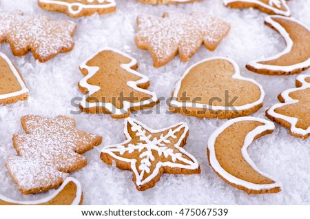 Christmas cookies, gingerbread cookies on white background