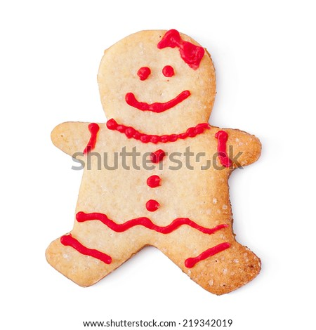 Christmas cookies - gingerbread man isolated on white background