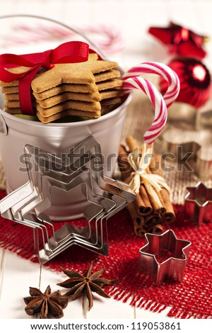 Christmas cookies in a decorative bucket - stock photo
