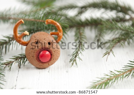Christmas cookies in the shape of Rudolf the reindeer with red nose