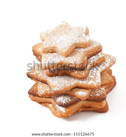 christmas cookies isolated on a white background - stock photo