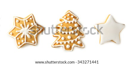 Christmas cookies, isolated on white - stock photo