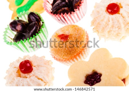 christmas cookies isolated over a white background - stock photo