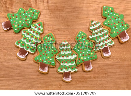 Christmas cookies. New year icing decoration. New year tree cookies. - stock photo