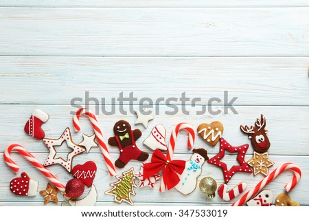 Christmas cookies on a blue wooden table - stock photo