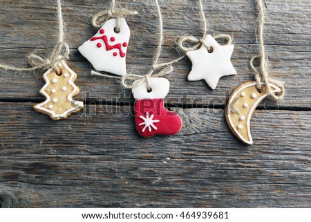 Christmas cookies on a grey wooden table