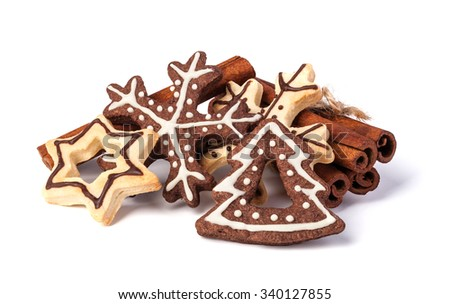 Christmas cookies on a white background - stock photo