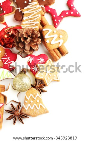 Christmas cookies on a white background