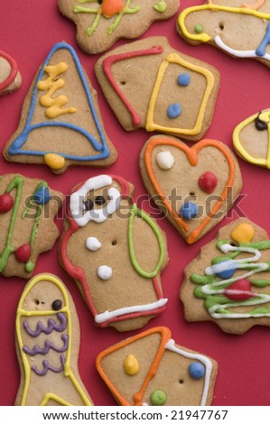 Christmas cookies on red background - stock photo