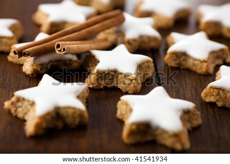 Christmas cookies on rustic wooden background - stock photo