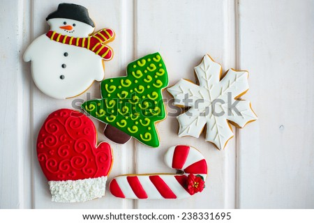 christmas cookies on white texture background - stock photo