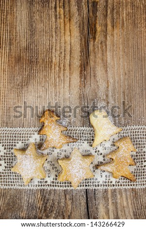 Christmas cookies on wooden table - stock photo